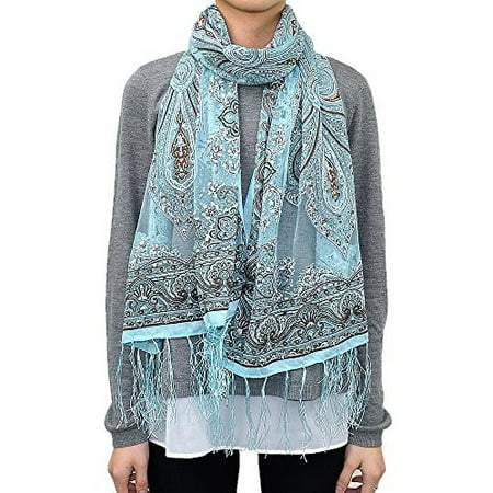 - Western Paisley Long Scarf with Glitter (Aqua)
