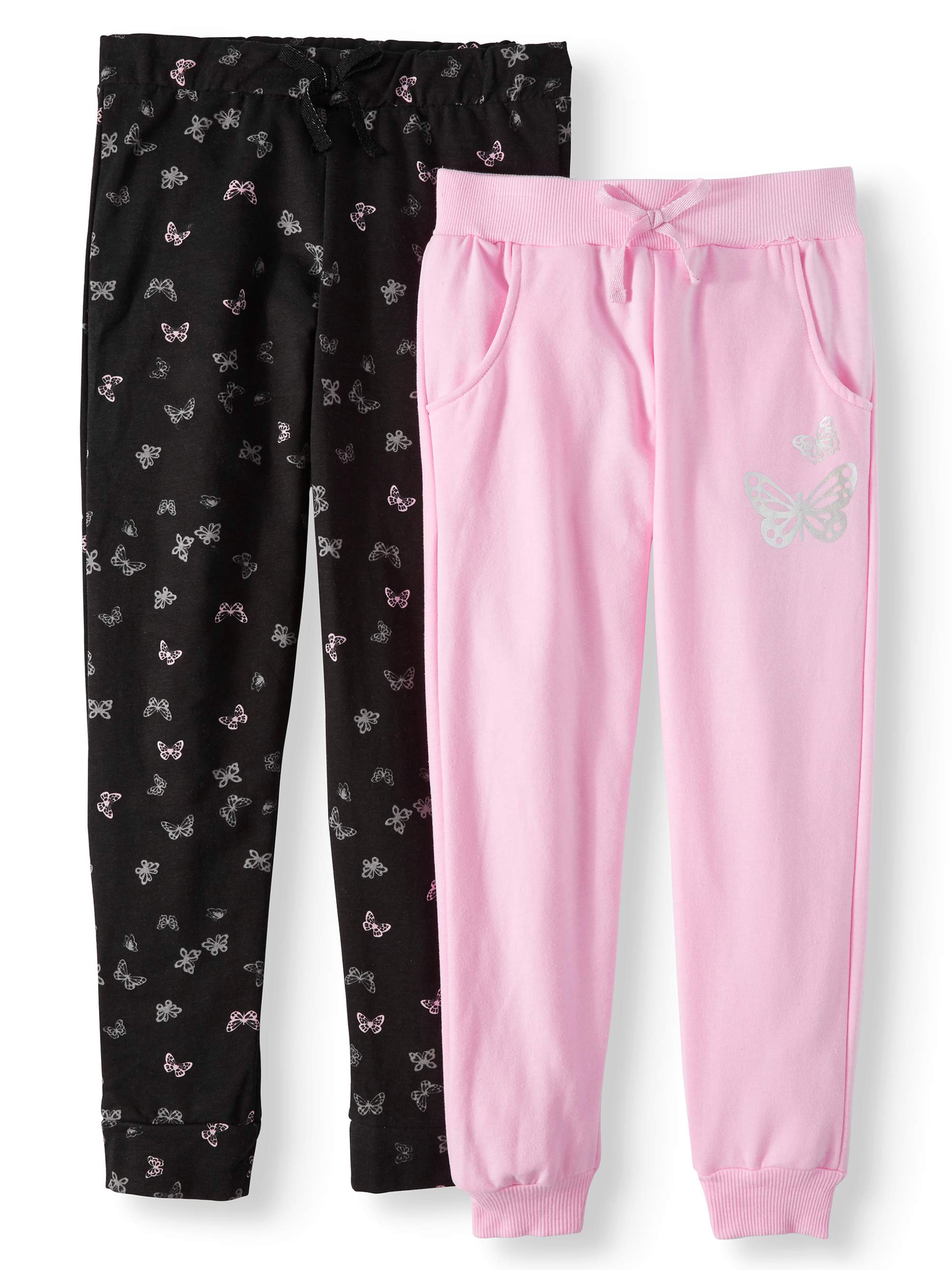 Solid and Metallic Butterfly Fleece Joggers, 2-Pack (Little Girls & Big Girls)