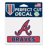 "Atlanta Braves WinCraft 4"" x 5"" Perfect Cut Logo Slogan Decal"