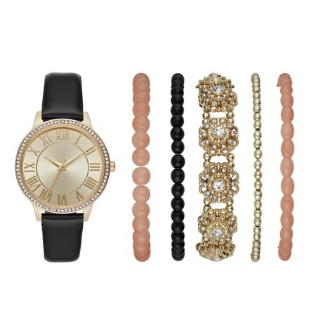Ladies' Gold Glitz Watch and Stackable Bracelet Gift Set