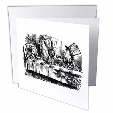3dRose Mad Hatter tea party illustration by John Tenniel. Alice in Wonderland, Greeting Cards, 6 x 6 inches, set of - Mad Hatter Birthday Party Supplies