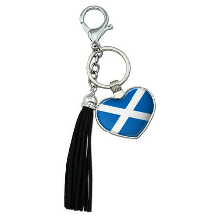 Scotland Scottish Country Flag Chrome Plated Metal Heart Leather Tassel Keychain