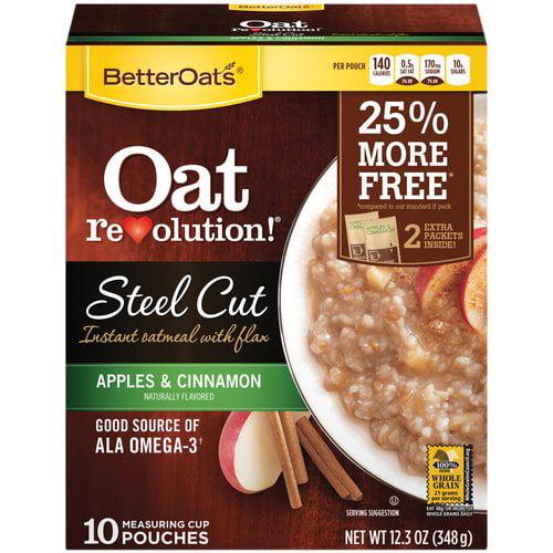 Better Oats Oat Revolution! Apples & Cinnamon Steel Cut ... Quaker Instant Oatmeal Maple And Brown Sugar