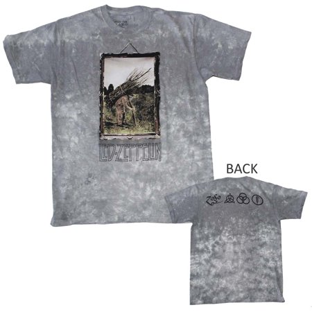 Wearable Led Clothing (Led Zeppelin Man with Sticks Custom Dye T-Shirt - Gray -)