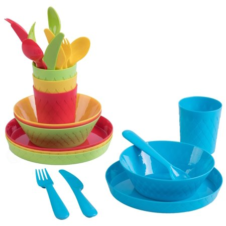 24-Piece Kids Dinnerware Set Plastic 4 Plates, 4 Bowls, 4 Cups, 4 Forks, 4 Knives, and 4 Spoons
