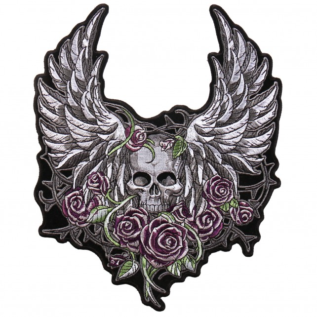 "SKULL WINGS, High Thread Embroidered Iron-On / Saw-On, Heat Sealed Backing Rayon PATCH - 4"" x 5"""