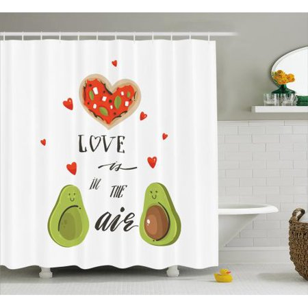 Avocado Shower Curtain, Valentines Day Themed Cartoon Avocado Couple in Love with Graphic Heart Shapes, Fabric Bathroom Set with Hooks, 69W X 75L Inches Long, Multicolor, by Ambesonne
