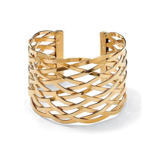 Palm Beach Jewelry 7.5'' Goldtone Lattice Cuff Bracelet
