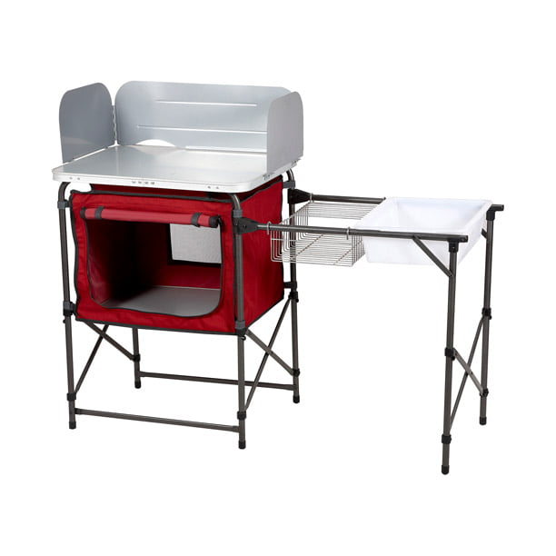 Ozark Trail Deluxe Camp Kitchen With Storage And Sink Table Red Walmart Com Walmart Com