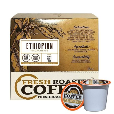 Fresh Roasted Coffee LLC, Ethiopian Yirgacheffe Coffee Pods, Medium Roast, Single Origin, Capsules Compatible with 1.0 & 2.0 Single-Serve Brewers, 18 Count