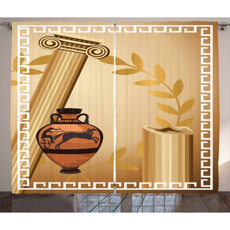Greek Column Decorations (Toga Party Curtains 2 Panels Set, Antique Greek Columns Vase Olive Branch Hellenic Heritage Icons, Window Drapes for Living Room Bedroom, 108W X 84L Inches, Light Brown Cinnamon White, by)