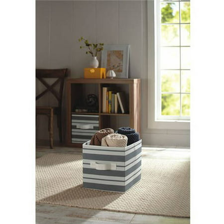 Better Homes And Gardens Collapsible Fabric Storage Cube Gray Stripe