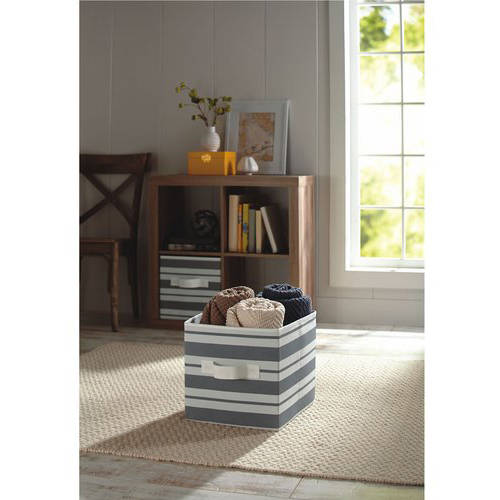 Better Homes And Gardens Collapsible Fabric Storage Cube, Gray Stripe