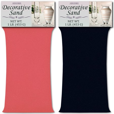HeroFiber Colored Unity Sand (2 lbs.) - Bubblegum Pink and Navy Blue - 1 lbs. per Color - Decorative Art Sand for Weddings, Vase Filling, Kids' Craft Play](Navy Blue Sand)