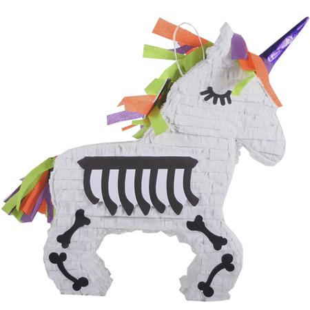 Diy Halloween Pinatas (Skeleton Unicorn Halloween Pinata White 17in x)