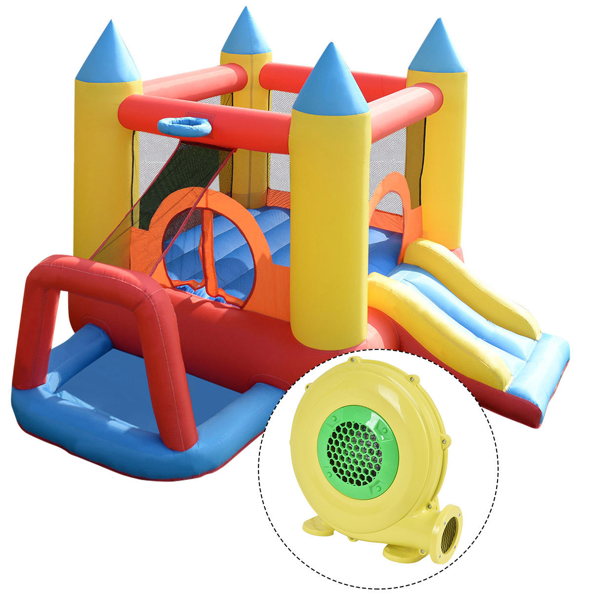 Costway Inflatable Mighty Bounce House Jumper Castle Moonwalk Slide w/480W Blower