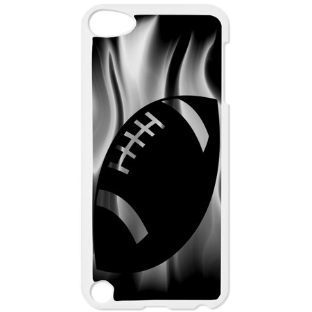 Flaming Football Hard White Plastic Case Compatible with the Apple iPod Touch 4th Generation - iTouch 4 Universal