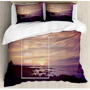 Motivational Queen Size Duvet Cover Set, Sunset on Beach with Tropical Landscape Hawaiian Scenic Beauty Idyllic Quote, Decorative 3 Piece Bedding Set with 2 Pillow Shams, Multicolor, by Ambesonne