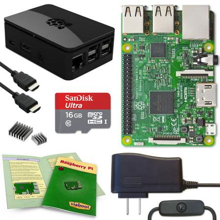 Viaboot Raspberry Pi 3 Complete Kit with Premium Black Case](raspberry pi electronics starter kit)