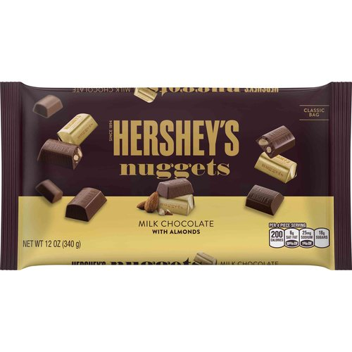 Hershey Milk Chocolate With Almond Nuggets, 12 oz