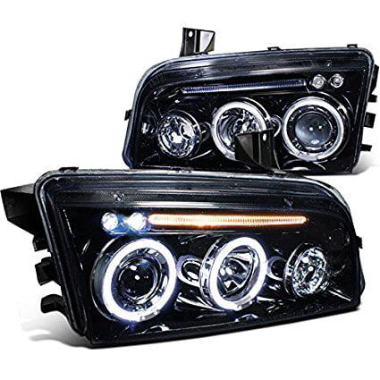Spec-D Tuning LHP-CHG05G-TM Dodge Charger Rt Srt Sxt Glossy Black Halo Led Projector Head