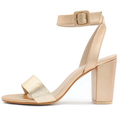 6177145e8033 Unique Bargains Women s Textured Vamp Chunky Heel Ankle Strap Sandals Gold ( Size 5.5) ...