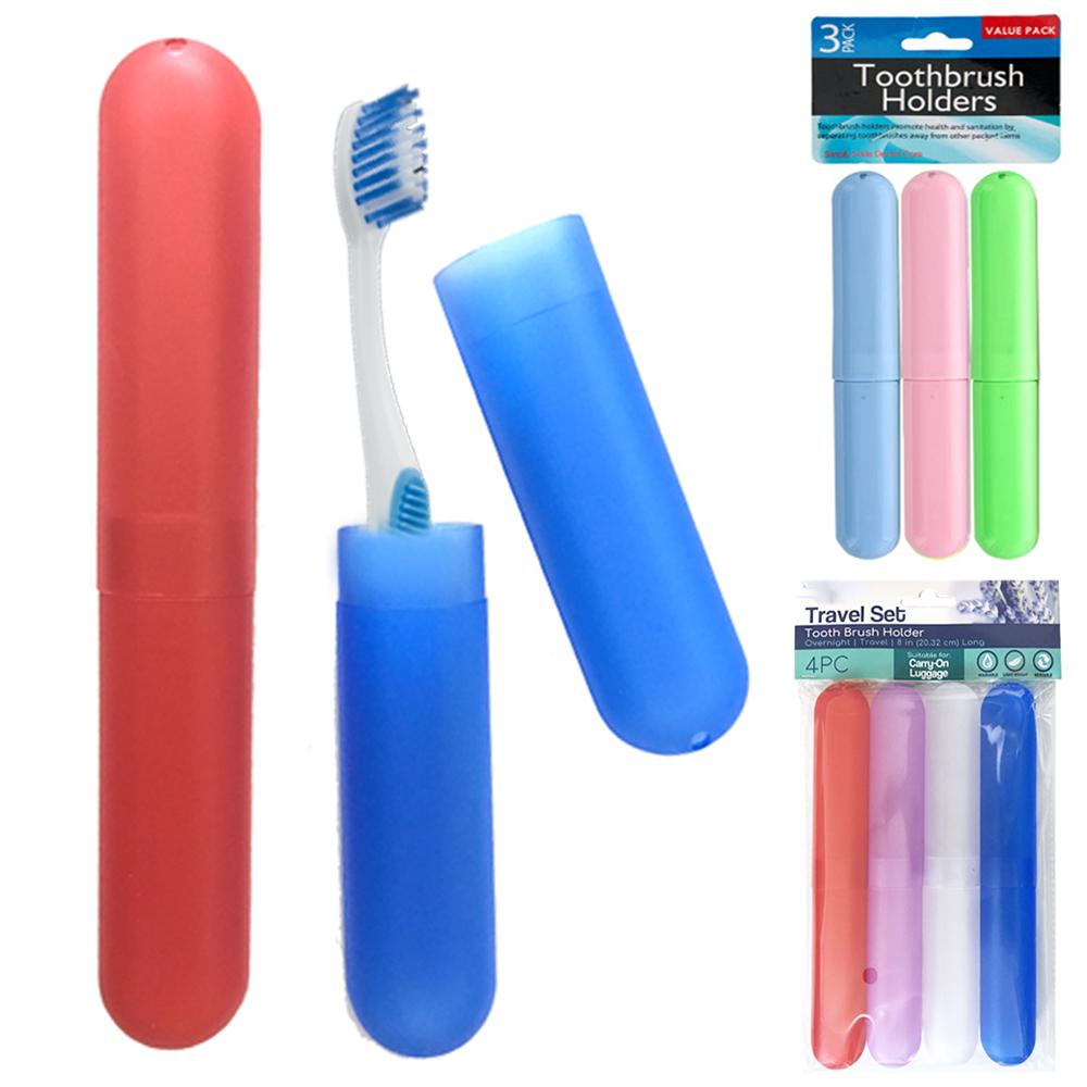 6 Pc Toothbrush Case Holders Travel Cover New Tube Plastic Box Multi Color Set