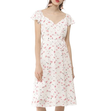 Ladies' Flower Ruffle Sleeve V Neck Side Slit Chiffon Dress