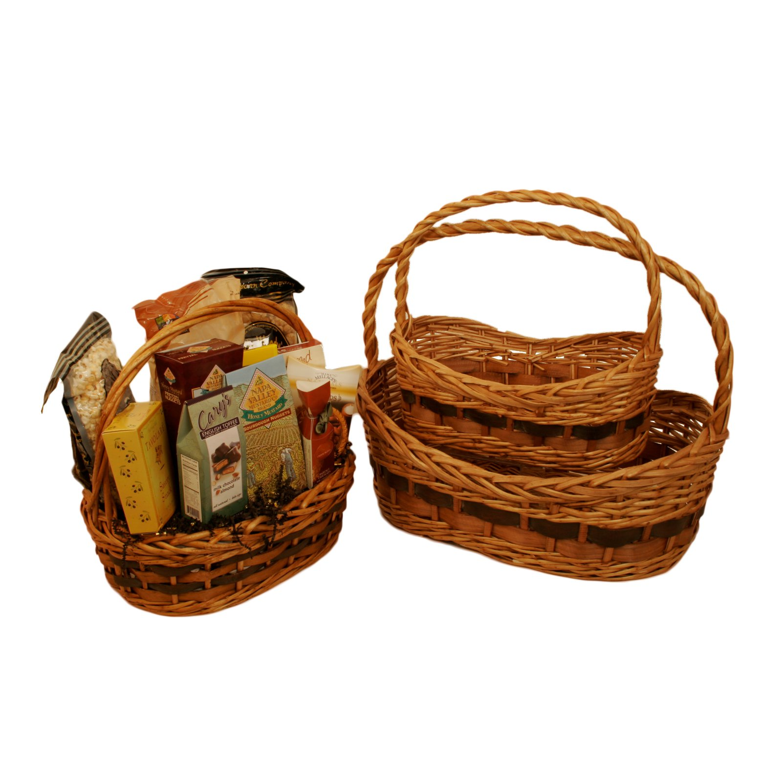 Wald Import Tuscana Decorative Basket with Wood Chip Handle - Set of 3