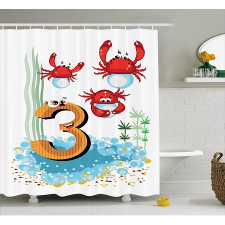 Number Shower Curtain, Sea Animals Crabs Coral Reef Happy Birthday Cancer Astrology Kids Bubbles Cartoon, Fabric Bathroom Set with Hooks, 69W X 70L Inches, Multicolor, by (Reef Crab)