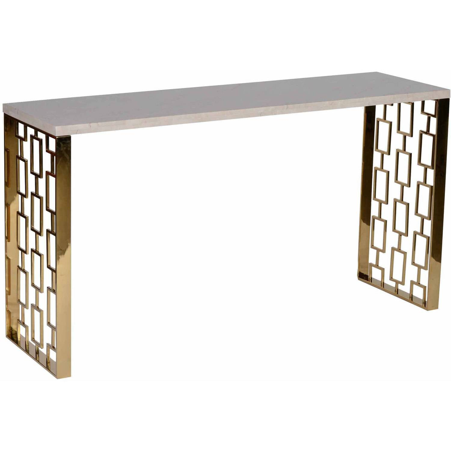 Armen Living Skyline Console Table with White Top, Gold Metal Base
