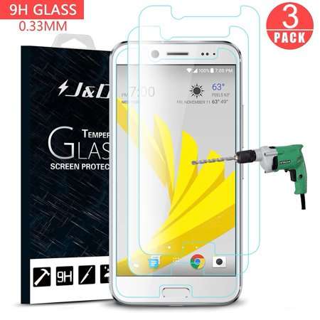 HTC Bolt Screen Protector, J&D Glass Screen Protector [Tempered Glass] HD Clear Ballistic Glass Screen Protector for HTC Bolt - Protect Screen from Drop and Scratch (3 Packs)