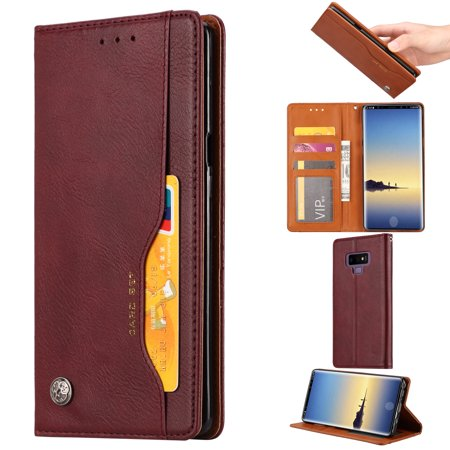 Card Holder Type - Galaxy Note 9 Case, Allytech Vintage Leather Slim Lightweight Business Type Folio Stand Magnetic Dust Proof Shockproof Anti-Scratch Cards Holder Wallet Case Cover for Samsung Galaxy Note 9, Winered