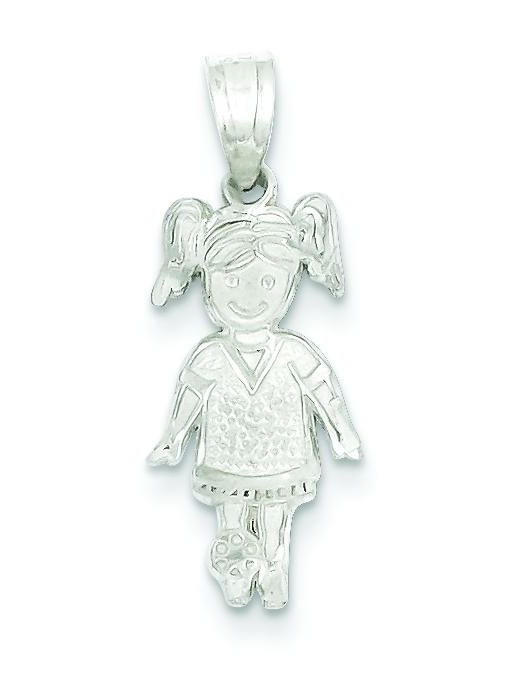 Sterling Silver Sports Girl Charm Pendant Jewelry