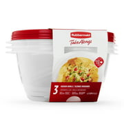 Rubbermaid TakeAlongs Serving Bowl Food Storage Containers, 6.2 Cup, 3 Count , Chili Red