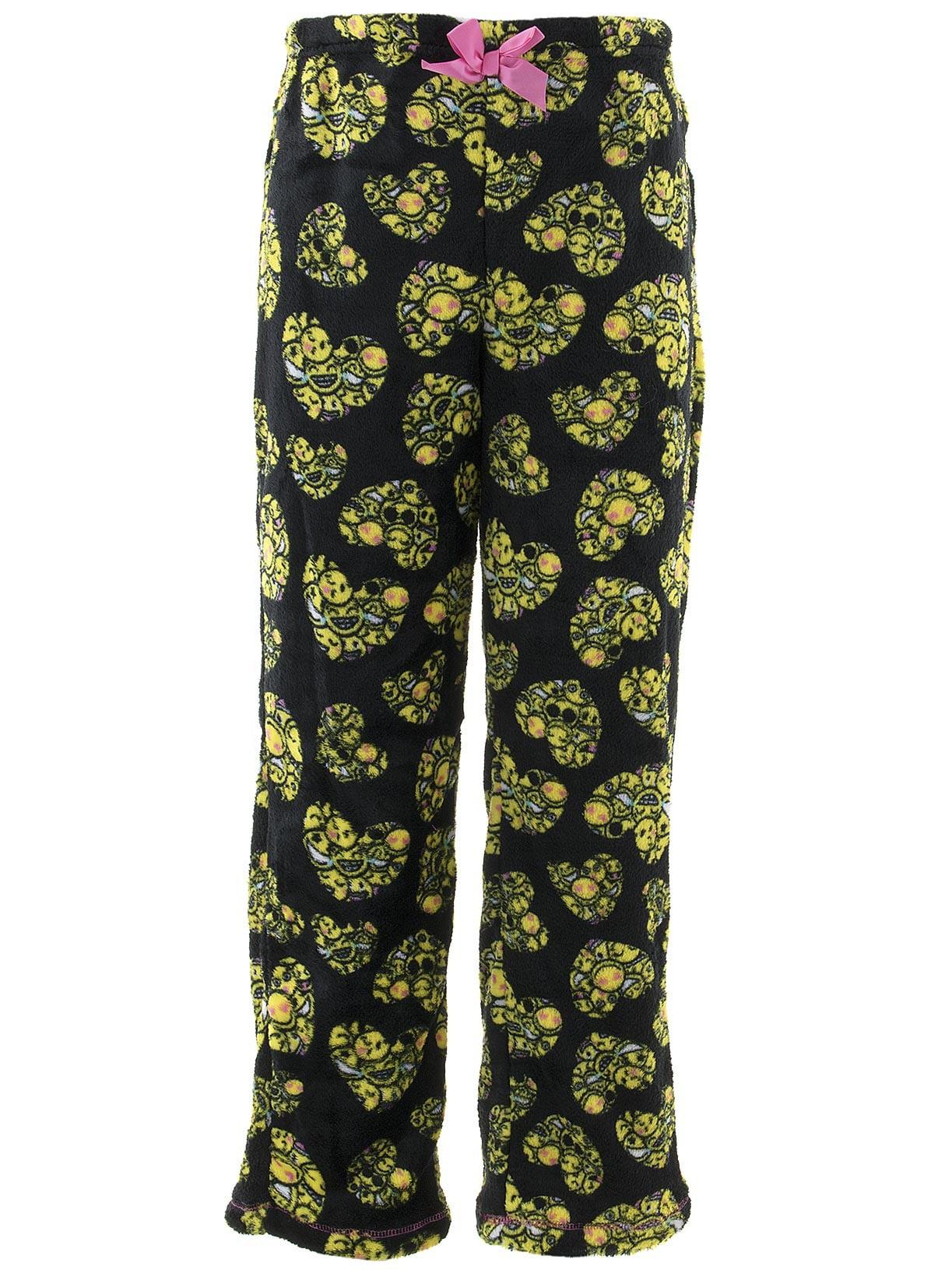 Rene Rofe Girls Emoji Hearts Black Fleece Pajama Pants
