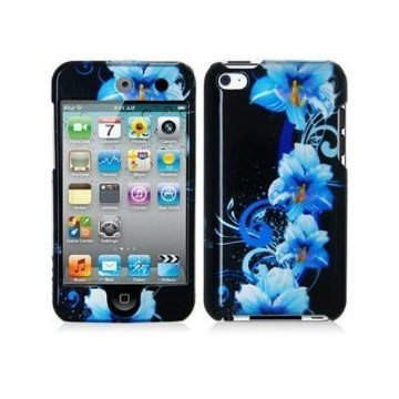 Design Crystal Hard Case for Apple iPod Touch 4th Gen - Blue Flower