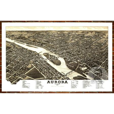 Ted's Vintage Art Map of Aurora, IL 1882; Old Illinois Decor 8
