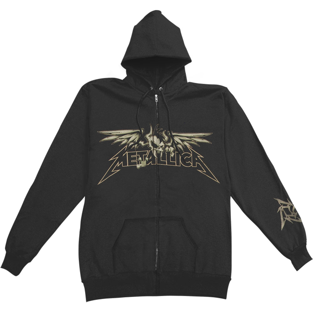 Metallica Men's  Winged Scary Zippered Hooded Sweatshirt Black