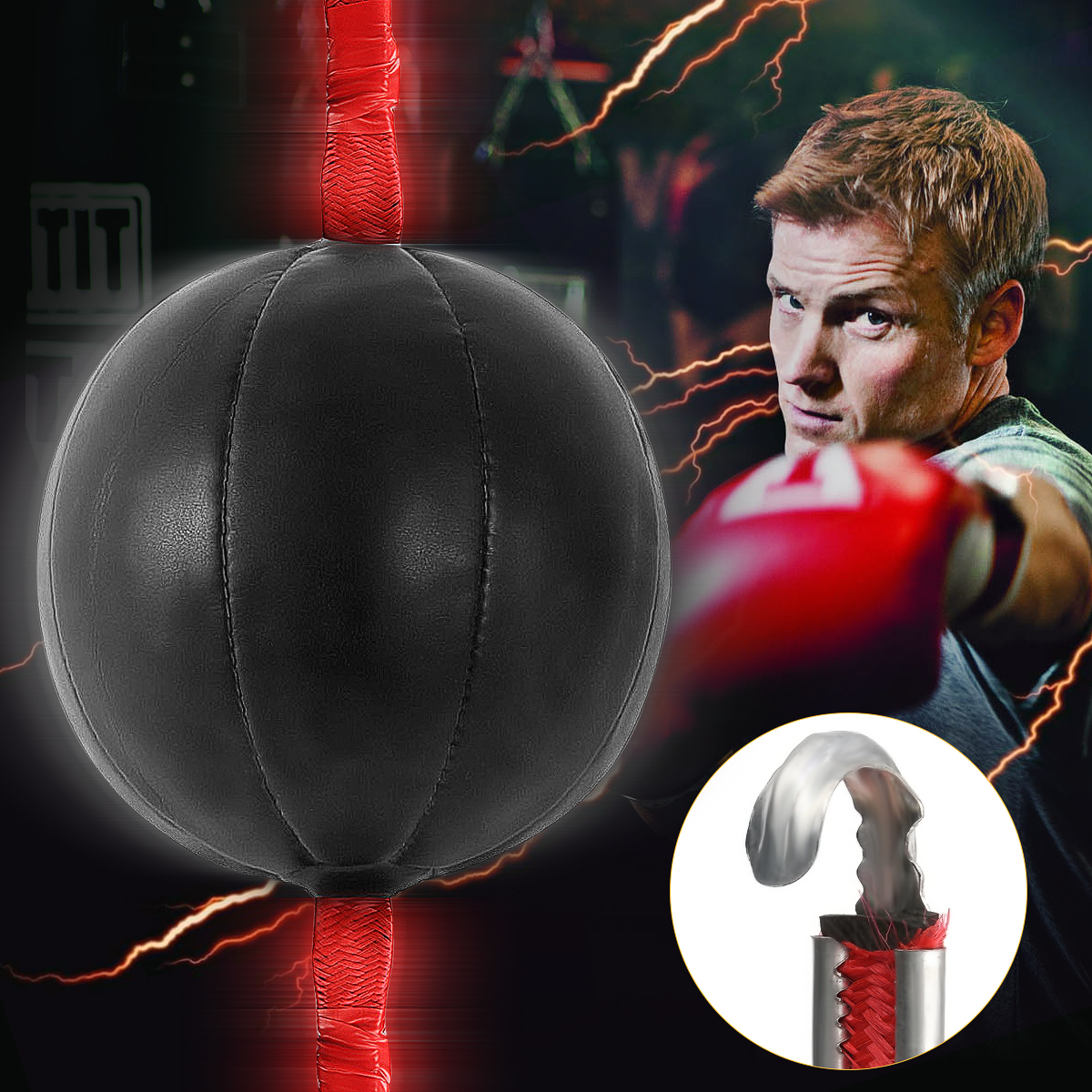 Black Speed Ball Boxing Double End MMA Boxing Training Gear Workout Punching Bag Speed Ball Bag with Strap