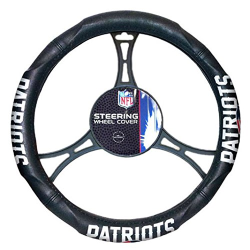 A Set of 2 Universal-Fit NFL Front Bucket Seat Covers and Comfort Grip Steering Wheel Cover - New England Patriots