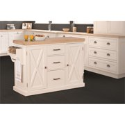 Hillsdale Furniture Brigham Solid Wood Kitchen Island, White with Natural Wood Top