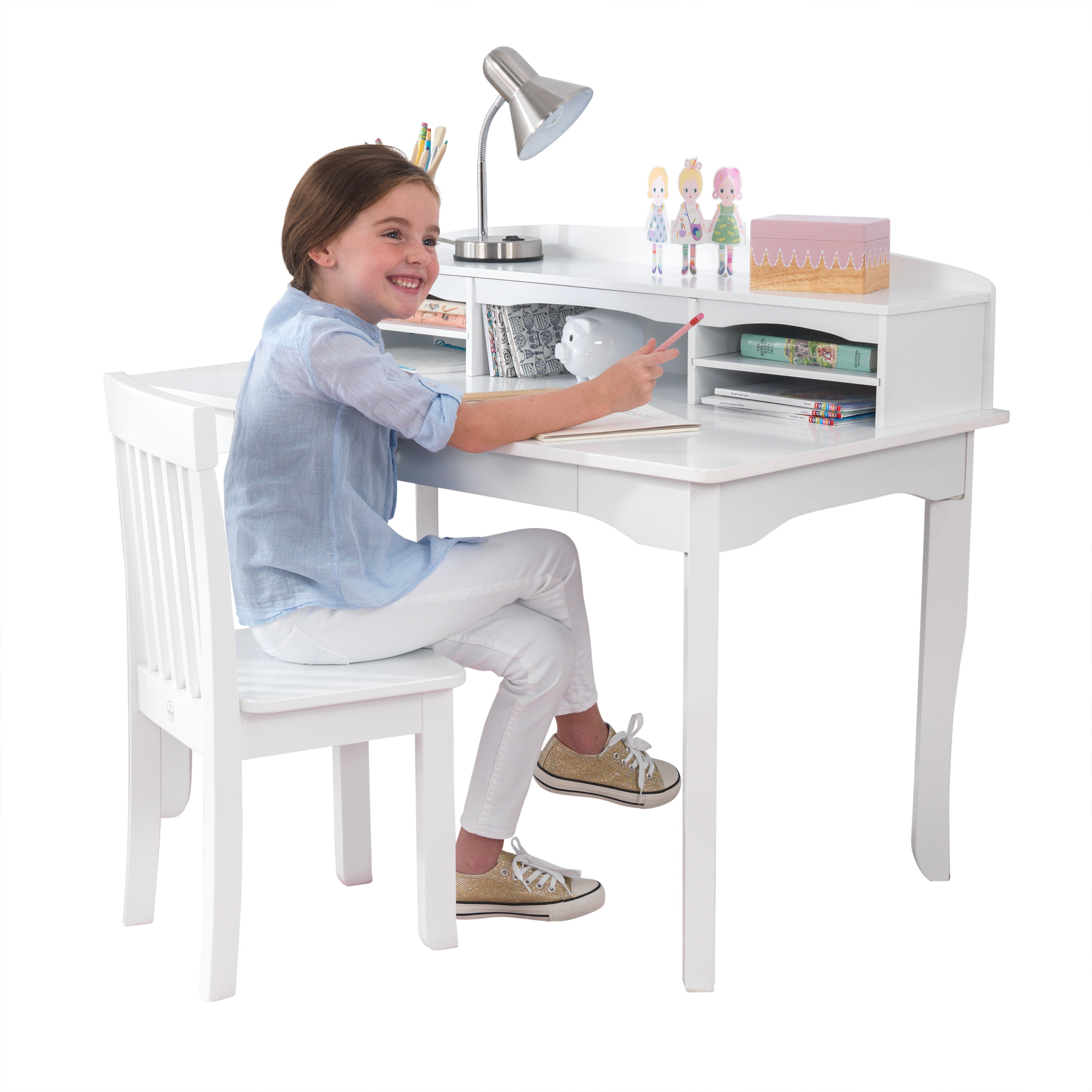 KidKraft Avalon Desk with Hutch and Chair White by KidKraft