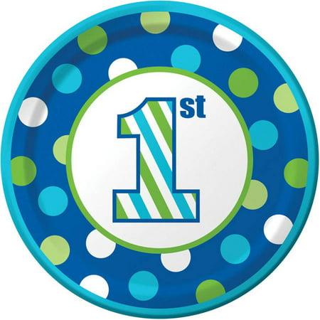 1st Birthday Boy Sweet Stripes Dessert Plates, 8-Pack - First Birthday Boys