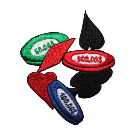 ID 8559 Casino Chips Poker Suits Patch Gamble Money Embroidered Iron On Applique - Mommy Patch Products