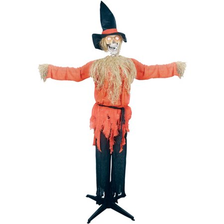 Styrofoam Head Halloween Decorations (6' Standing Scarecrow with Moving Head Halloween)