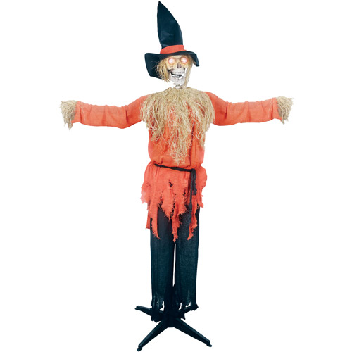 6' Standing Scarecrow with Moving Head Halloween Decoration