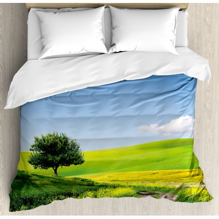 Nature King Size Duvet Cover Set  Rural Country Scenery With Floral Grass Field Tree Idyllic Landscape  Decorative 3 Piece Bedding Set With 2 Pillow Shams  Apple Green Light Blue  By Ambesonne