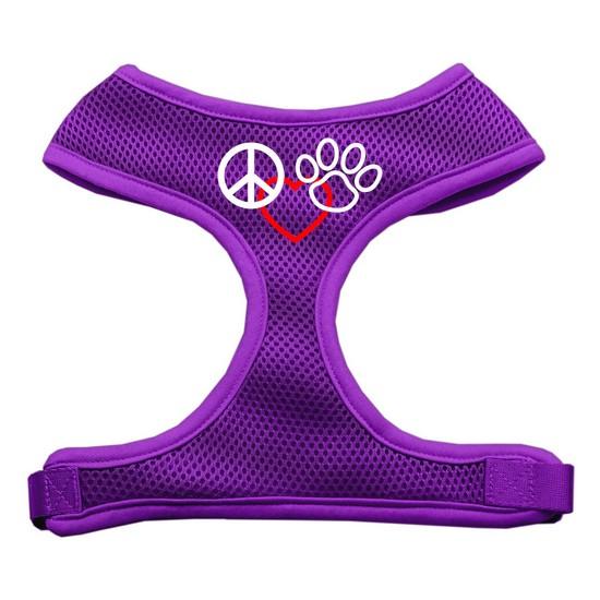 Image of Mirage 70-18 MDPR Peace Love Paw Design Soft Mesh Dog Harness Purple Medium