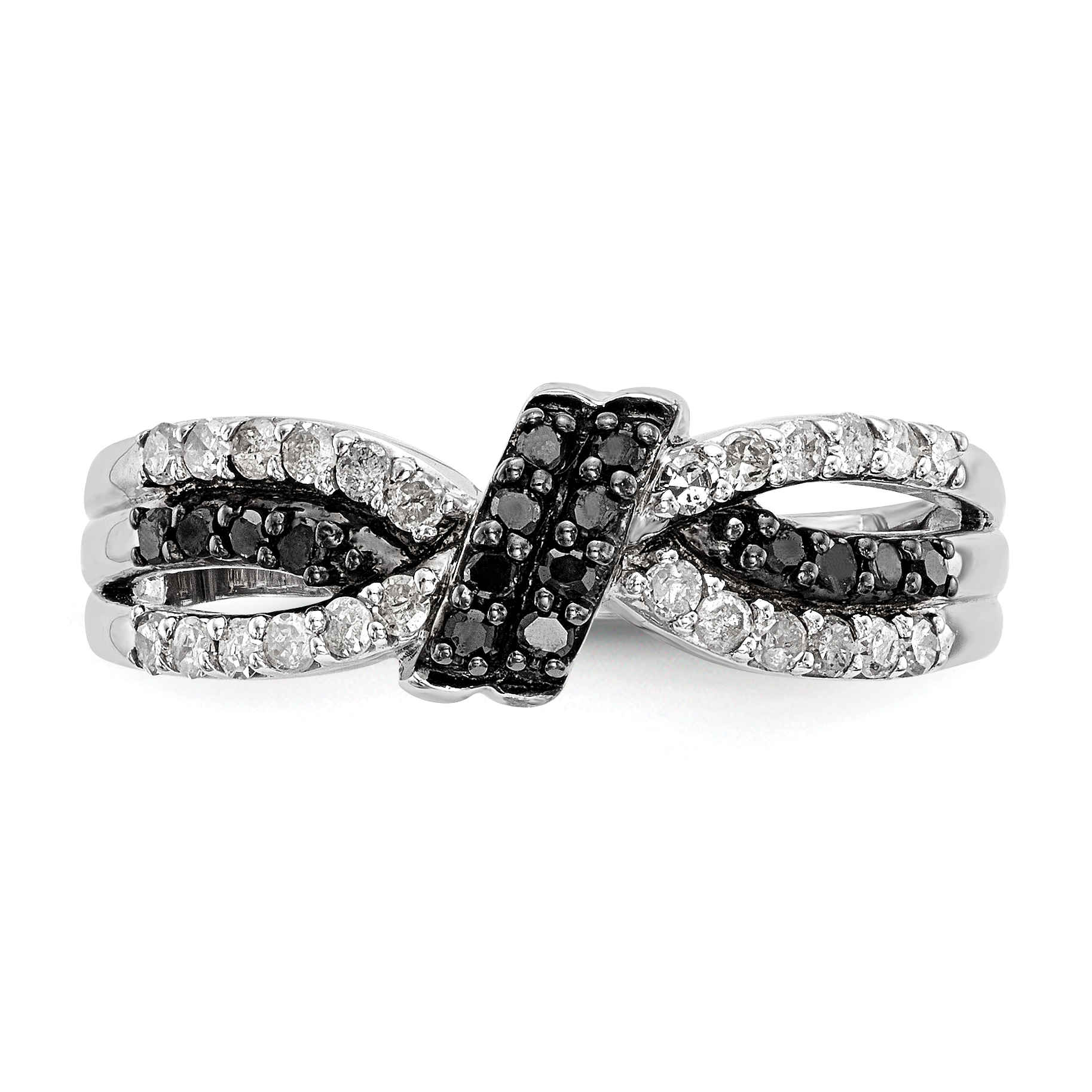 925 Sterling Silver Black White Diamond Band Ring Size 6.00 Fine Jewelry Gifts For Women For Her - image 5 de 6